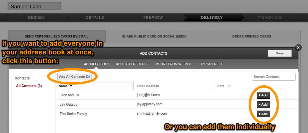 Paperless Post - Adding from your Address Book